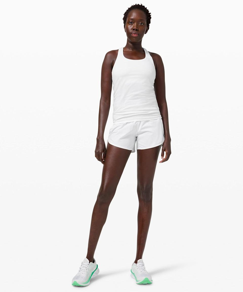 <p>We're feeling white hot in this cute <span>Lululemon Swiftly Tech Racerback 2.0</span> ($58) and <span>Tracker Short</span> ($58) set.</p>
