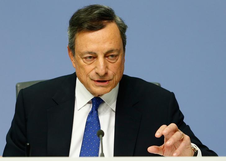 European Central Bank President Draghi addresses a news conference at the ECB headquarters in Frankfurt