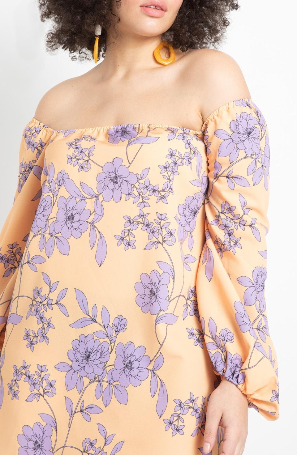 <p>Add a pop of floral and color to your rotation with this <span>Eloquii Off the Shoulder Floral Print Long Sleeve Midi Dress</span> ($60, originally $100).</p>