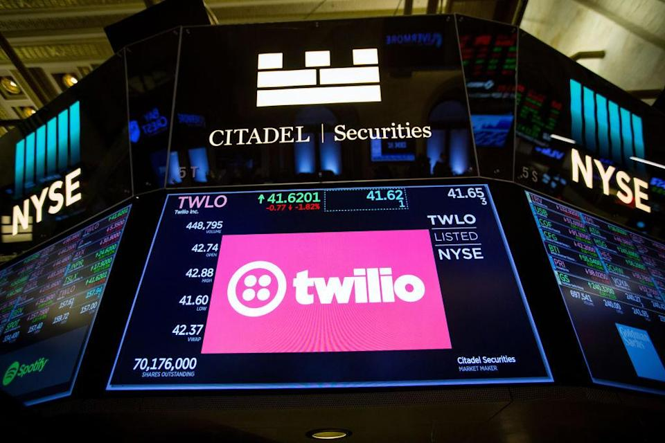 A monitor displays Twilio Inc. signage on the floor of the New York Stock Exchange (NYSE) in New York, U.S., on Friday, April 27, 2018. U.S. stocks were mixed as euphoria from better-than-forecast earnings reports faded with investors contemplating the implications of higher interest rates in an economy that may be cooling. Photographer: Michael Nagle/Bloomberg via Getty Images