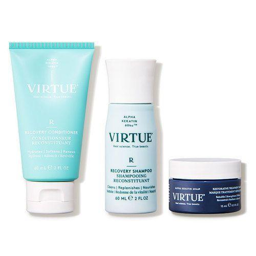 """<p><strong>Virtue</strong></p><p>dermstore.com</p><p><a href=""""https://go.redirectingat.com?id=74968X1596630&url=https%3A%2F%2Fwww.dermstore.com%2Fproduct_Repair%2BStrengthen%2BDiscovery%2BKit%2B_82085.htm&sref=https%3A%2F%2Fwww.marieclaire.com%2Fbeauty%2Fg35685017%2Fdermstore-beauty-refresh-sale%2F"""" rel=""""nofollow noopener"""" target=""""_blank"""" data-ylk=""""slk:SHOP IT"""" class=""""link rapid-noclick-resp"""">SHOP IT</a></p><p><strong><del>$36</del> $29 (20% off)</strong></p><p>If you're after a Keratin-friendly shampoo upgrade, meet Virtue. The brand famously uses keratin identical to the keratin produced by the human body in its products. This travel-sized Recovery set (including the brand's Recovery shampoo, conditioner and hair mask) helps strengthen strands while removing excess oils and scalp build-up. </p>"""