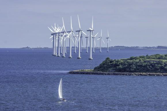 A group of offshore wind turbines.