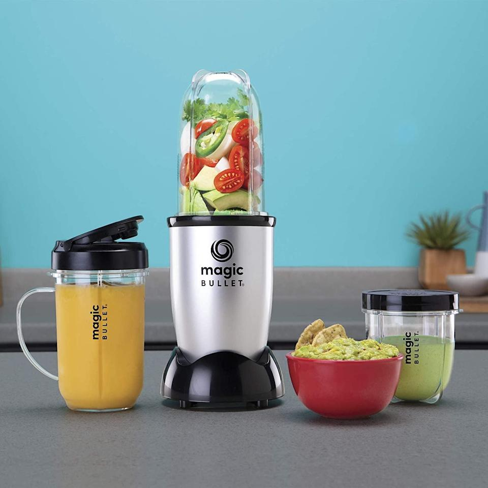 <p>Create smoothies, purees, sauces, soups and even guacamole with the <span>Magic Bullet Blender, Small, Silver, 11 Piece Set</span> ($30).</p>