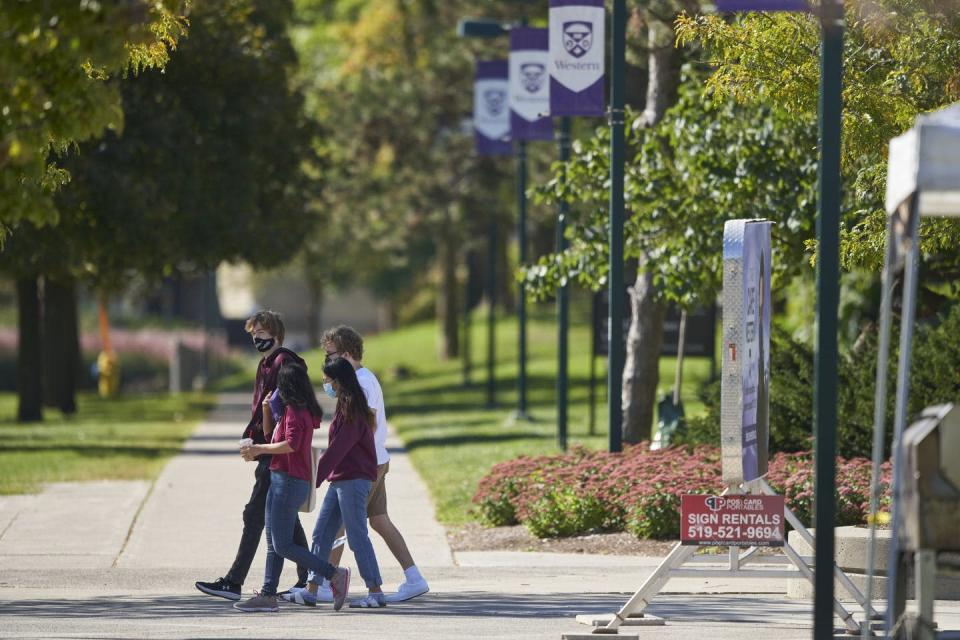 Students walking on a campus.