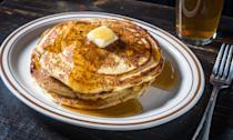"""<p>It's rare to find a bar in New York City that serves food until closing time, let alone one that offers a full menu of creatively topped <a href=""""https://www.myrecipes.com/search?q=pancakes"""" rel=""""nofollow noopener"""" target=""""_blank"""" data-ylk=""""slk:pancakes"""" class=""""link rapid-noclick-resp"""">pancakes</a>, homemade breakfast sausage, and bacon-infused bourbon cocktails until 4 a.m. on weekends. But that's <a href=""""http://www.boilermakernyc.com/#home"""" rel=""""nofollow noopener"""" target=""""_blank"""" data-ylk=""""slk:Boilermaker"""" class=""""link rapid-noclick-resp"""">Boilermaker</a> for you. The home of the midnight pancake is a friendly neighborhood bar located in what <em>Seinfeld</em>'s Kramer once called the """"<a href=""""https://www.youtube.com/watch?v=6yDb0cYcZ18"""" rel=""""nofollow noopener"""" target=""""_blank"""" data-ylk=""""slk:nexus of the universe"""" class=""""link rapid-noclick-resp"""">nexus of the universe</a>,"""" where breakfast only starts once the clock strikes 12 a.m., and the kitchen, led by chef de cuisine Mike Landas, turns out six different varieties of homemade pancakes until last call every night of the week.</p> <p>Pancakes might not seem like the ideal drunk snack. They can be kind of messy, they're not especially portable, and it can be a challenge to get them right. Landas's pancakes strike a perfect balance between being substantial enough to sop up all the booze that may have been sloshing around your belly, while not making you feel like you need to rush home and pass out from overindulgence. If anything, I was ready to go up to the bar and order another round of drinks.</p> <p>One of Boilermaker's most popular pancakes thus far is the apple pie, served with a house-made apple chutney, made with fresh apples, ginger, and apple cider vinegar to keep the flavor from getting too cloyingly sweet (though you can ask for whipped cream, if that's your thing). While you definitely don't have to be drunk to enjoy these pancakes, I'd recommend making them late at night if you want the full experi"""