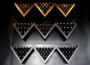 A wine rack in the restaurant at the Bodega Salentein