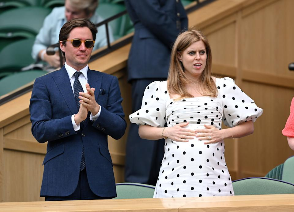 Edo Mapelli Mozzi and Princess Beatrice photographed prior to their daughter's arrival, on day 10 of the Wimbledon Tennis Championships at the All England Lawn Tennis and Croquet Club on July 08, 2021 in London, England. (Photo by Karwai Tang/WireImage)