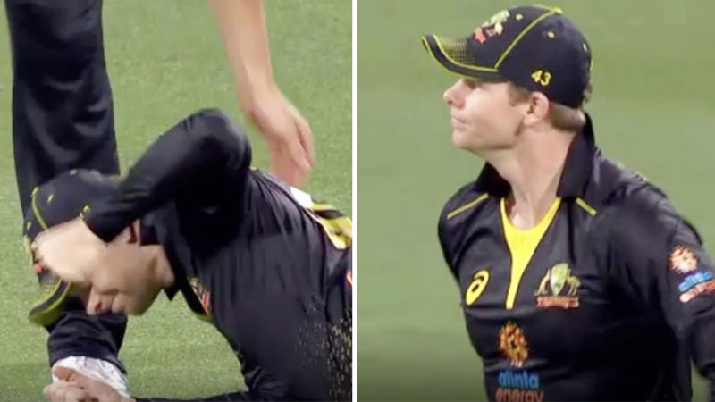 Steve Smith was filthy after dropping a difficult chance at point. (Images: Fox Sports)