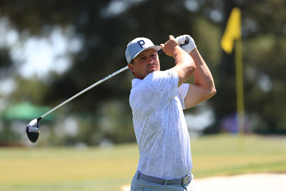 Bryson DeChambeau getting some reps in at Augusta. (Mike Ehrmann/Getty Images)