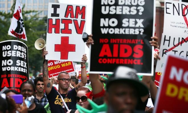 Activists demanding resources to confront and cure HIV/AIDS rally in Washington, D.C., on July 24, 2012.