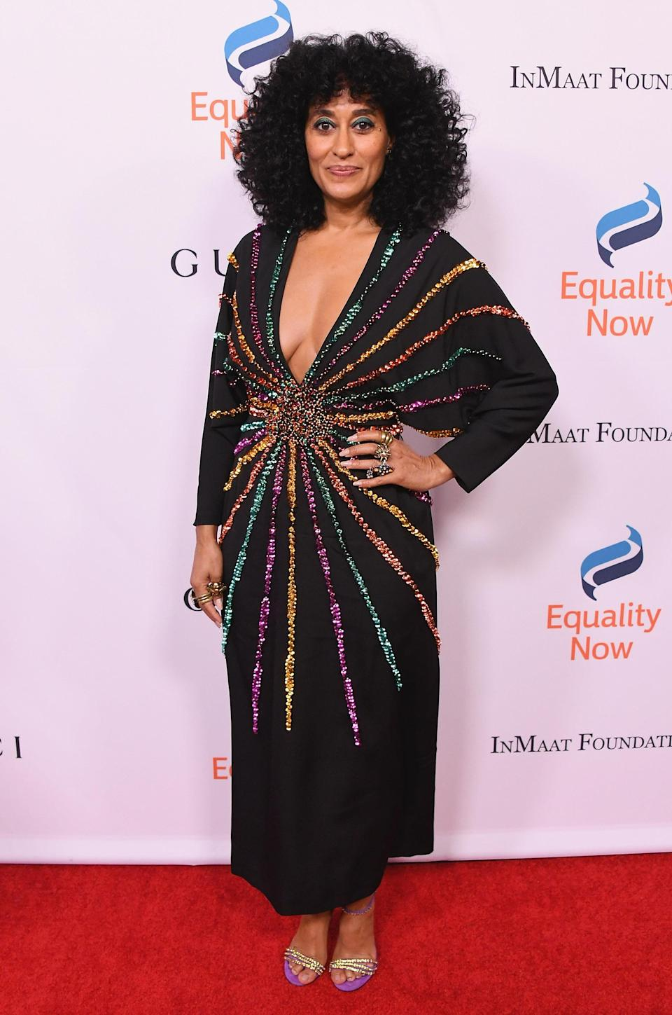 <p>More festive partywear inspiration from Diana Ross' daughter, who wore a glitter-emblazoned LBD from Gucci to a gala in LA this month. <em>[Photo: Getty]</em> </p>