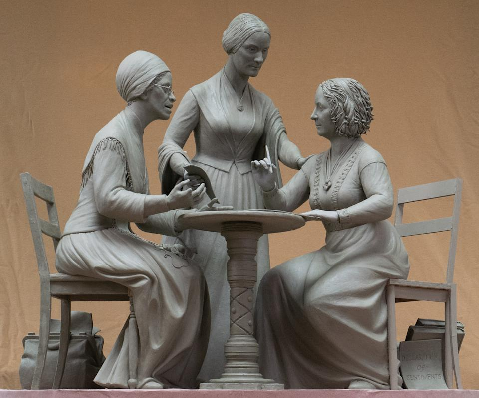 A 3-foot clay model of the Women's Rights Pioneers Monument, a statue of suffragists Sojourner Truth (L) Susan B. Anthony (M), and Elizabeth Cady Stanton (R). The statue will be unveiled in New York City's Central Park on August 26, 2020. (Photo: Michael Bergmann)