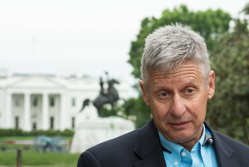 US Libertarian Party presidential candidate Gary Johnson speaks to AFP during an interview in Washington, DC on May 9, 2016 (AFP Photo/Nicholas Kamm)