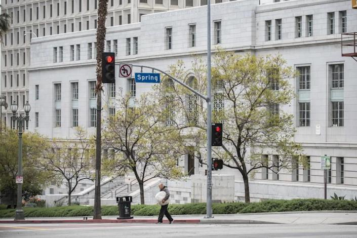Los Angeles City Hall and other government buildings in downtown Los Angeles close to the public in the midst of the COVID-19 outbreak on Monday, March 16, 2020. ( Photo by Nick Agro / For The Times)