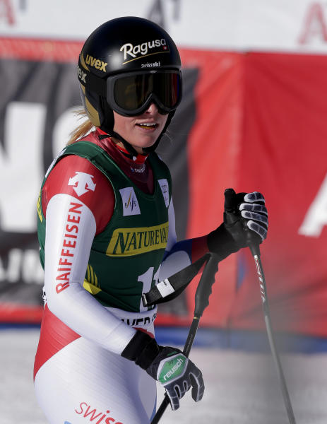 Switzerland's Lara Gut checks her time after finishing her run during the women's World Cup downhill skiing event, Friday, Nov. 29, 2013, in Beaver Creek, Colo. (AP Photo/Julie Jacobson)