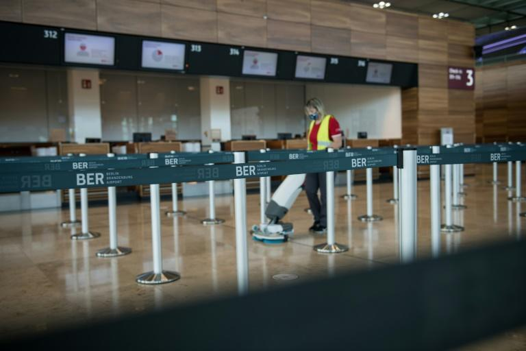 A few days before the opening, around 200 staff were busy disinfecting the 360,000-square-metre Terminal 1 at the new Berlin Brandenburg Airport (BER)