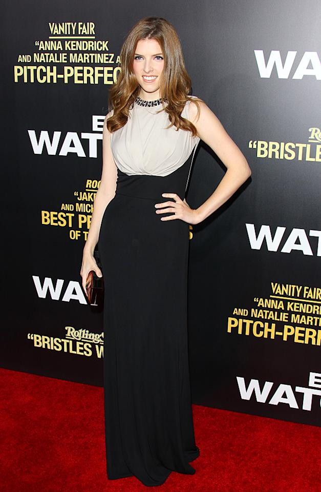 "Following in Ferrera's footsteps was her <a target=""_blank"" href=""http://movies.yahoo.com/movie/end-of-watch/"">""End of Watch""</a> co-star, Anna Kendrick, who popped a pose in a $2,200 Elie Saab silk jersey gown and freshly highlighted tresses. Truth be told, Anna has never looked better or more sophisticated. Agree? (9/17/2012)<br><br><a target=""_blank"" href=""http://omg.yahoo.com/blogs/aline/"">A-Line: Celebrity Style</a>"