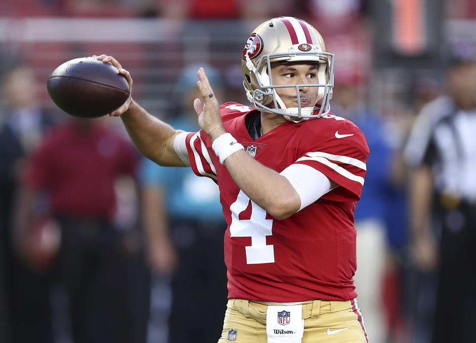 San Francisco 49ers quarterback Nick Mullens started his career with a bang, throwing a touchdown on his first drive. (AP)