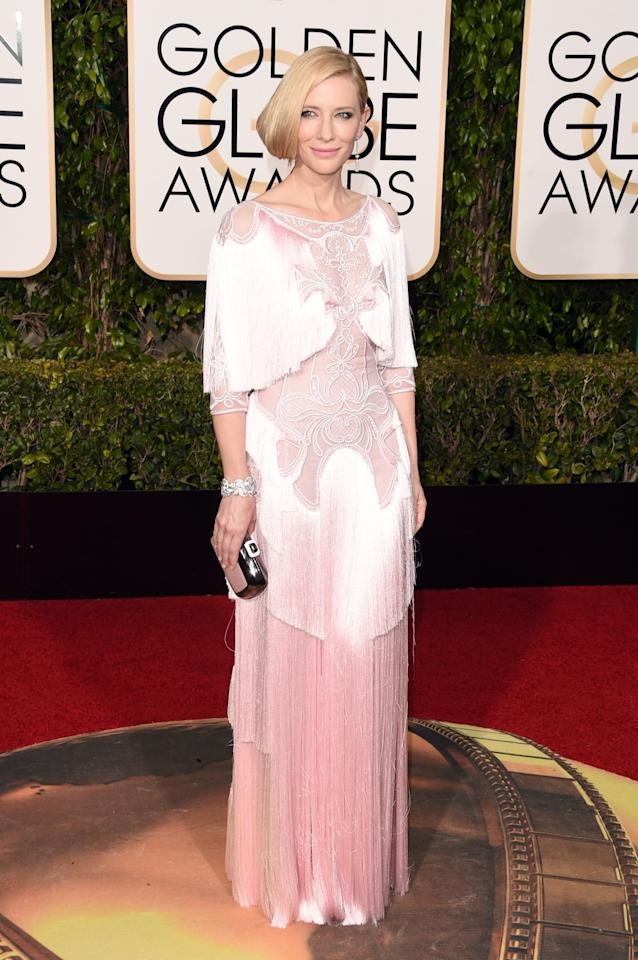 <p>Cate's re-worked Givenchy gown featuring some serious fringing was the hit of the Golden Globes. <i>[Photo: Getty]</i> </p>