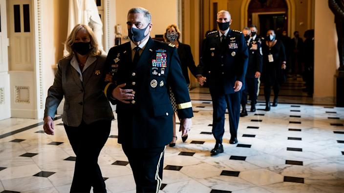 General Mark Milley, chairman of the Joint Chiefs of Staff, walks to pay his respects as the late Justice Ruth Bader Ginsburg lies in state at National Statuary Hall in the US Capitol on September 25, 2020 in Washington, DC. (Erin Schaff/AFP via Getty Images)