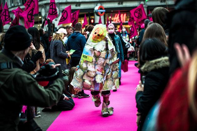 A fashion show was organised in Oxford Circus as part of the protest to highlight the issues.