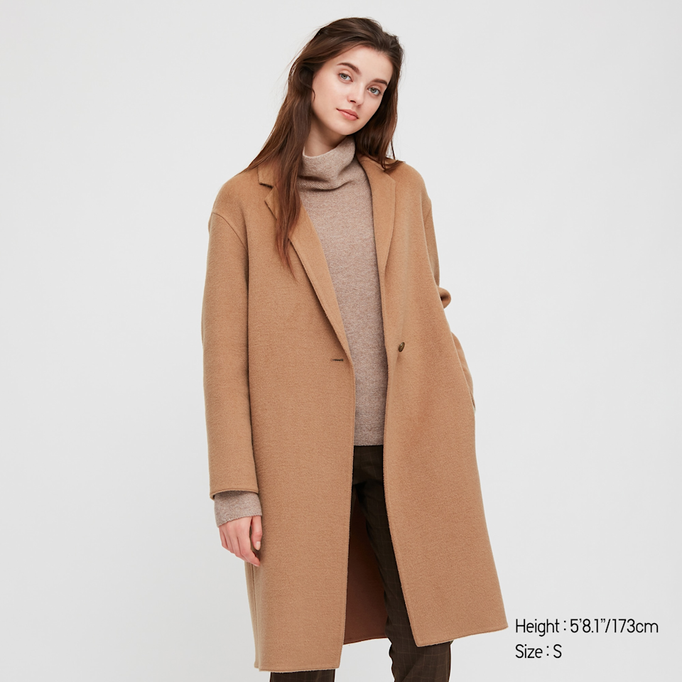 "<br><br><strong>Uniqlo</strong> Double Face Cocoon Coat, $, available at <a href=""https://go.skimresources.com/?id=30283X879131&url=https%3A%2F%2Fwww.uniqlo.com%2Fus%2Fen%2Fwomen-double-face-cocoon-coat-429473.html"" rel=""nofollow noopener"" target=""_blank"" data-ylk=""slk:Uniqlo"" class=""link rapid-noclick-resp"">Uniqlo</a>"