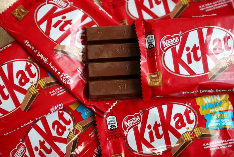 Kit Kat chocolate covered wafer bars manufactured by Nestle are seen in London
