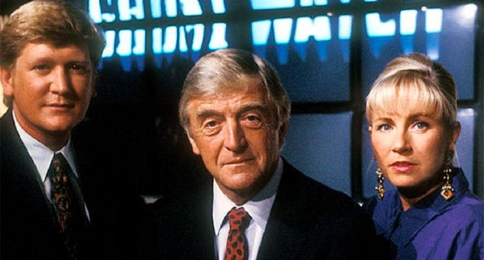 Mike Smith, Michael Parkinson and Sarah Greene in Ghostwatch. (BBC)