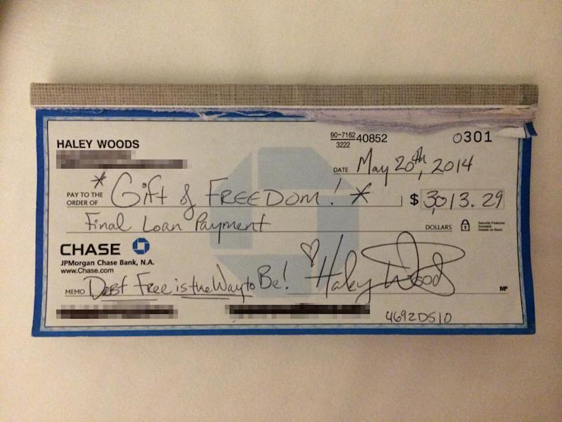 Haley Woods' celebratory check | Courtesy Haley Woods