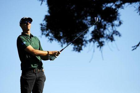 Jan 25, 2014; La Jolla, CA, USA; Nicolas Colsaerts hits his tee shot on the third hole during the third round of the Farmers Insurance Open golf tournament at Torrey Pines Municipal Golf Course - South Co. Christopher Hanewinckel-USA TODAY Sports