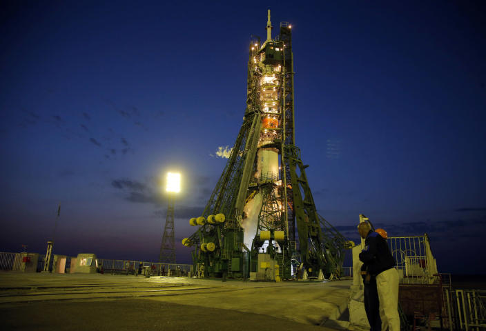 <p>The Soyuz-FG rocket booster with Soyuz MS space ship carrying a new crew to the International Space Station, sits prior to the launch at the Russian leased Baikonur cosmodrome, Kazakhstan, Thursday, July 7, 2016. (AP Photo/Dmitri Lovetsky, Pool) </p>