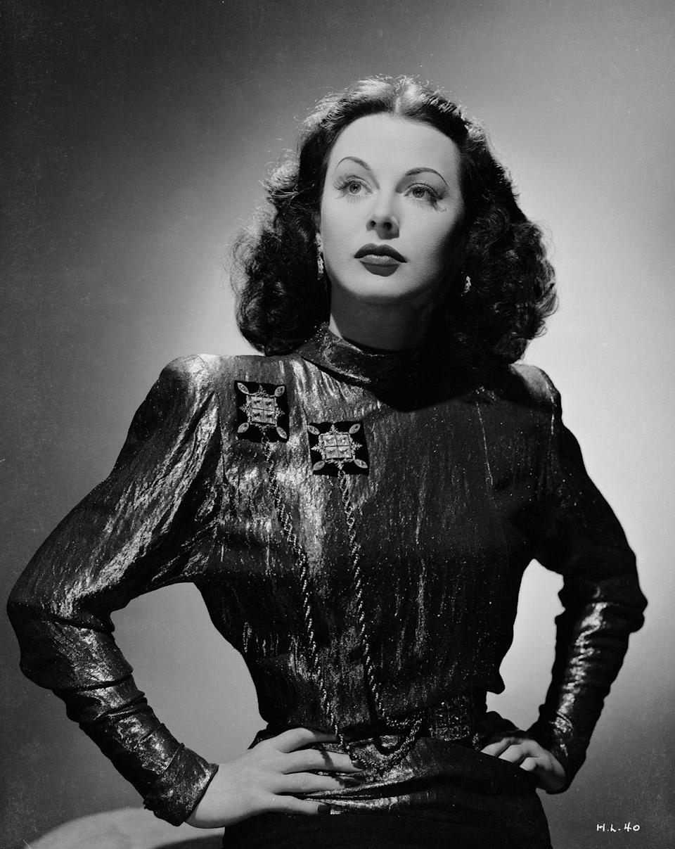 <p>The broad shoulders and small waists associated with '80s fashion were on-trend in the '40s first. Just ask Hedy Lamarr. </p>