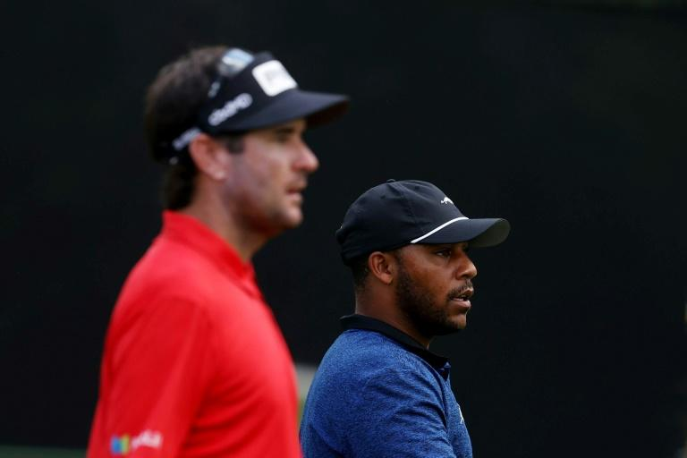 Harold Varner III, right, and Bubba Watson won a nine-hole charity match against Wesley Bryan and Australia's Jason day on Wednesday ahead of Thursday's start of the PGA Rocket Mortgage Classic in Detroit