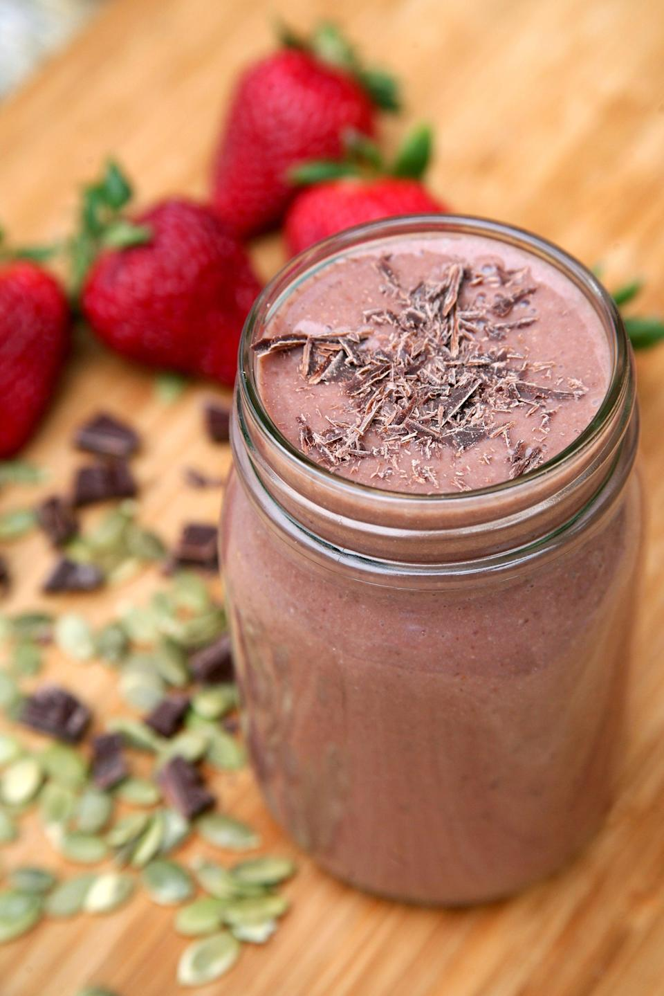 "<p>For Scorpio's determined and dynamic personality, they'll love this passionately flavored smoothie made with strawberries, peaches, chocolate, and pumpkin seeds. </p> <p><strong>Get the recipe</strong>: <a href=""https://www.popsugar.com/fitness/Smoothie-Better-Sex-37288023"" class=""link rapid-noclick-resp"" rel=""nofollow noopener"" target=""_blank"" data-ylk=""slk:chocolate strawberry smoothie"">chocolate strawberry smoothie</a></p>"