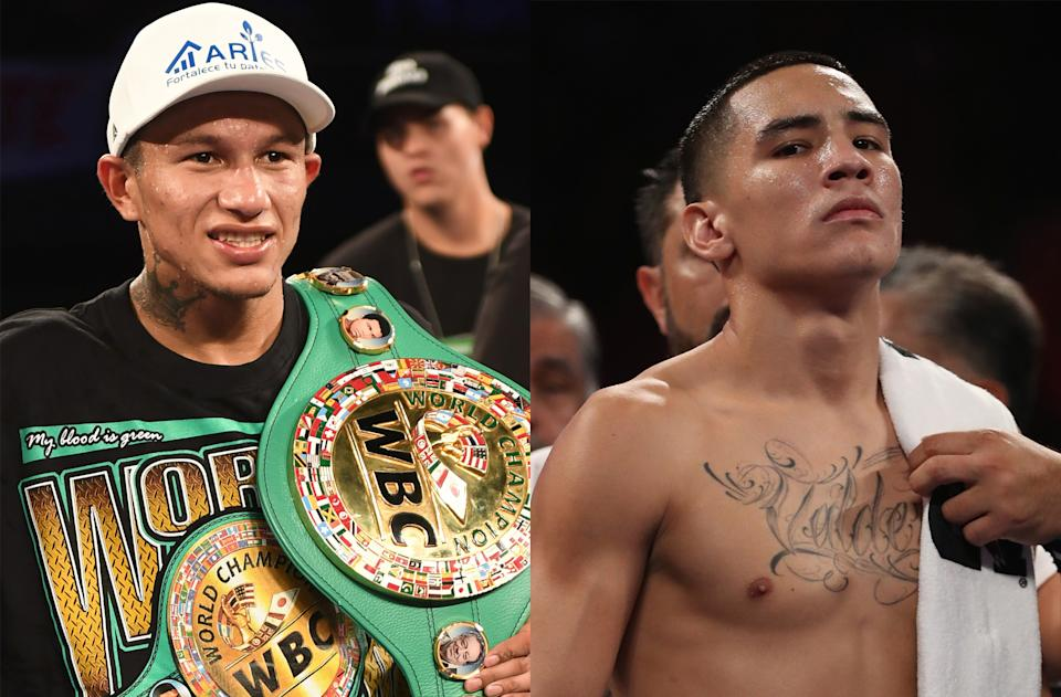 WBC super featherweight champion Miguel Berchelt faces undefeated former featherweight champion Oscar Valdez on Saturday at the MGM Grand Conference Center in Las Vegas. (Getty Images)