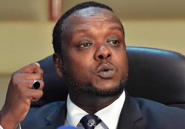 Kenya's Sports Minister Hassan Wario on Thursday announced the disbanding of the Kenyan Olympic committee after the allegations surfaced (AFP Photo/Simon Maina)