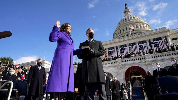 PHOTO: Kamala Harris is sworn in as Vice President by Supreme Court Justice Sonia Sotomayor as her husband Doug Emhoff holds the Bible during the 59th Presidential Inauguration at the U.S. Capitol in Washington, Jan. 20, 2021. (Andrew Harnik/AP)