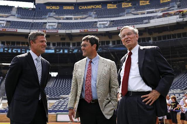 Commissioner of Major League Baseball, Bud Selig, right, visits PNC Park with Pittsburgh Pirates President Frank Coonelly, left, and Pirates Chairman of the Board Bob Nutting, center, before a baseball game between the Pittsburgh Pirates and the Los Angeles Dodgers in Pittsburgh Tuesday, July 22, 2014. (AP Photo)