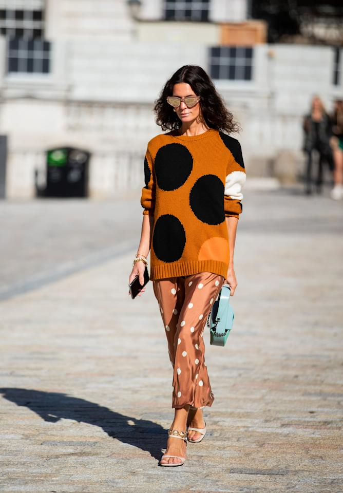 <p>Mix your dots by pairing together an oversize pattern with a smaller dot. For a streamlined effect, sticking to a tonal palette will make the bold combo feel easier. </p>
