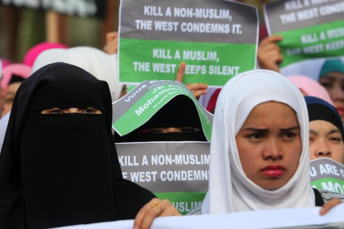 Filipino Muslims protest against the French satirical weekly Charlie Hebdo's caricatures of the Prophet Mohammed during a demonstration in Marawi, on January 14, 2015 (AFP Photo/Mark Navales)