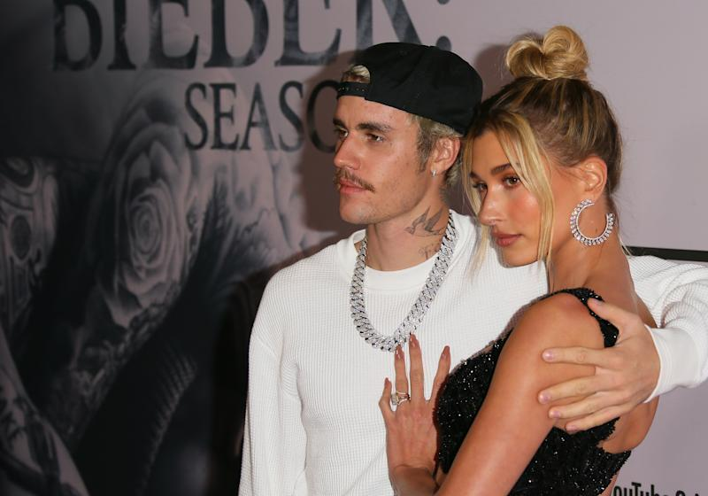 "Justin Bieber and Hailey Bieber attend the premiere of YouTube Originals' ""Justin Bieber: Seasons"" at Regency Bruin Theatre on January 27, 2020 in Los Angeles, California. (Photo by Jean Baptiste Lacroix/FilmMagic)"