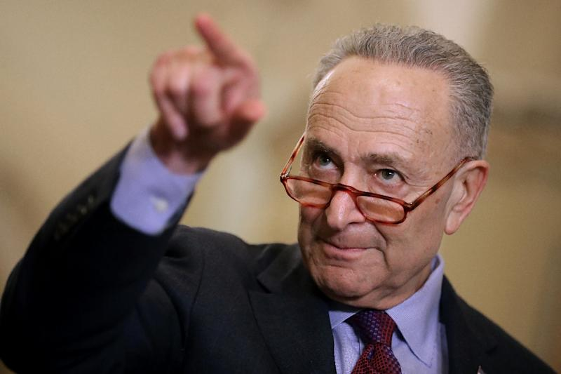 "Senate Minority Leader Chuck Schumer couched Trump's declaration as a dangerous power grab by an unrestrained president acting out of ""pique"" (AFP Photo/CHIP SOMODEVILLA)"