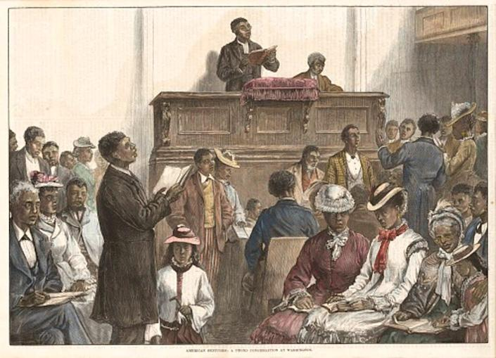 """<span class=""""caption"""">Many African Americans made education a high priority after the Civil War.</span> <span class=""""attribution""""><a class=""""link rapid-noclick-resp"""" href=""""https://nmaahc.si.edu/object/nmaahc_2013.239.7"""" rel=""""nofollow noopener"""" target=""""_blank"""" data-ylk=""""slk:National Museum of African American History and Culture"""">National Museum of African American History and Culture</a></span>"""