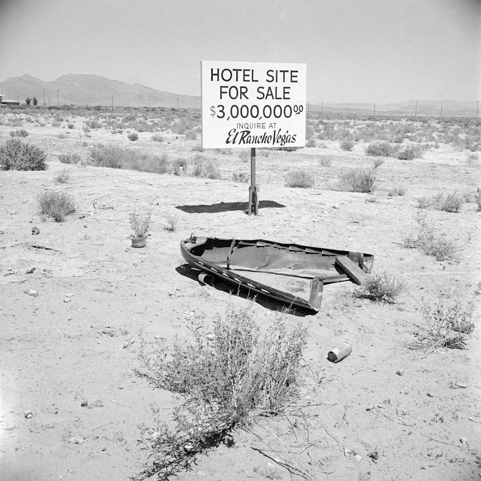 <p>As Las Vegas grew in popularity throughout the '50s, available lots grew in value. Here, a hotel site plot was being sold for $3 million in 1955. </p>
