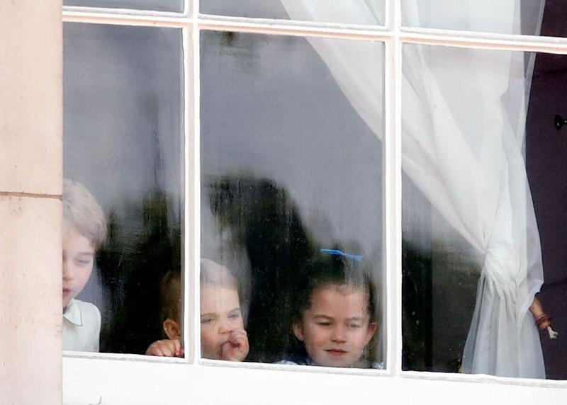 Prince Louis was seen sucking his thumb at The Trooping of the Colour on Saturday [Photo: Getty]