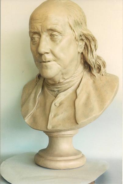 An undated photo provided by George D'Angelo shows a rare bust of Benjamin Franklin with an estimated value of $3 million that has has been recovered almost a month after it was stolen from a suburban Philadelphia home. The rare artwork was recovered Friday, Sept. 21, 2012, when authorities arrested a former house cleaner, owner George D'Angelo said. The bust was made in 1778 by Jean-Antoine Houdon while Franklin was visiting Paris, it is one of three known to exist. (AP Photo/ho/George D'Angelo) NO SALES