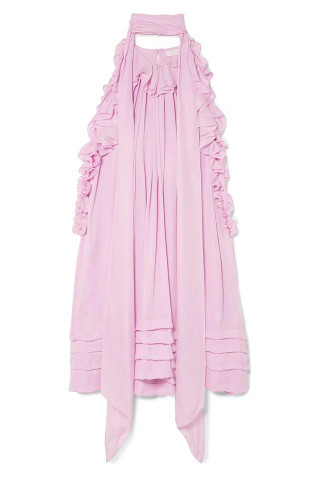 "<p>Channel the trend in this ruffled, floaty frock from Chloé.</p><p><em>Silk dress, £2,550, Chloé at Net-a-Porter</em><br></p><p><a rel=""nofollow"" href=""https://www.net-a-porter.com/gb/en/product/994767/Chloe/ruffled-silk-charmeuse-mini-dress"">BUY NOW</a><br></p>"