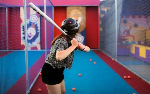 The batting cage at the Social Fun and Games Club at Roof East, Straford