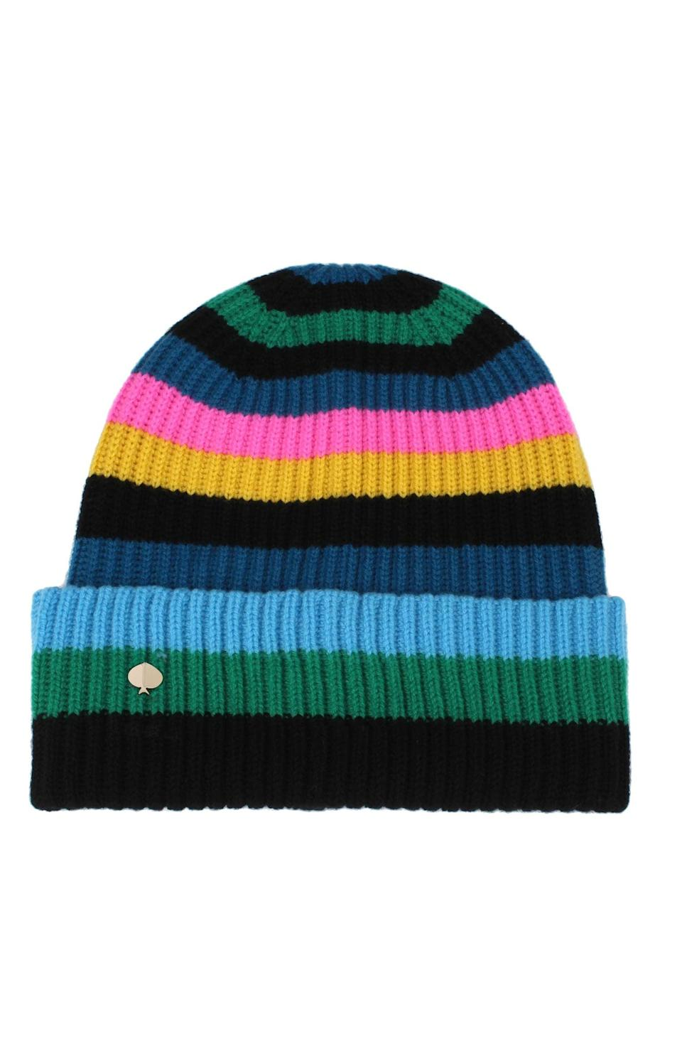 <p>This <span>Kate Spade New York Enchanted Stripe Merino Wool Beanie</span> ($78) is colorful and cute.</p>