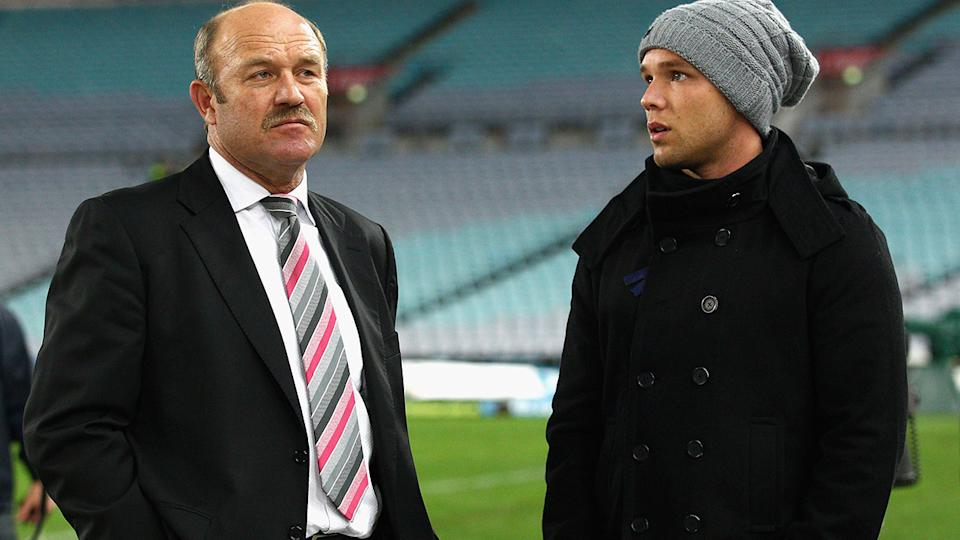 Wally Lewis and son Lincoln, pictured here at the 2011 State of Origin series.